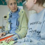 Dr. Sarah Friebert consults with a patient
