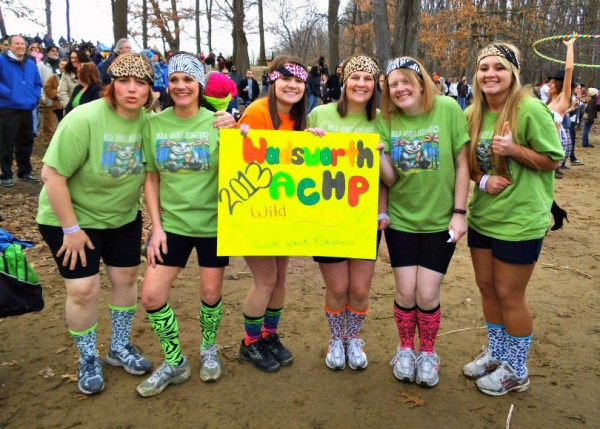 """The """"Wild Things"""" of Akron Children's Hospital Pediatrics Wadsworth get ready for a plunge in the 37-degree Turkeyfoot Lake during the 10th annual Polar Bear Jump."""