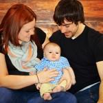 Megan Taylor and Alex Maicks hold their newborn son, Daniel.