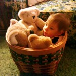 Bekah lounging in a basket.