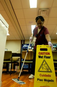 Arnita Hubbard cleans the Reinberger Family Center