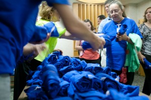 """Passing out """"Most Wired"""" t-shirts after the announcement."""