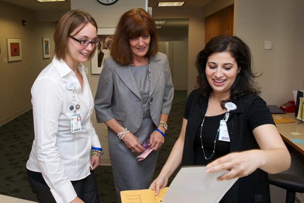 Jamie Demain of pediatrics, Keri Dejulio, and Maurie Testa of administration