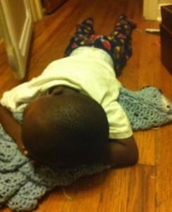 "Jude finally asleep on the ""nest"" he makes outside Jane's room"