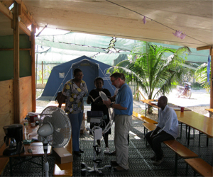 Dr. Pope gives ICU staff education on new medical equipment at St. Damien's in Haiti.
