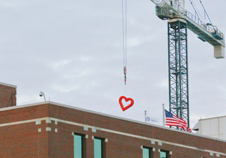 Doing their part, by hanging hearts