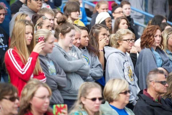 About 800 Coventry High School students quietly watched the drama unfold.