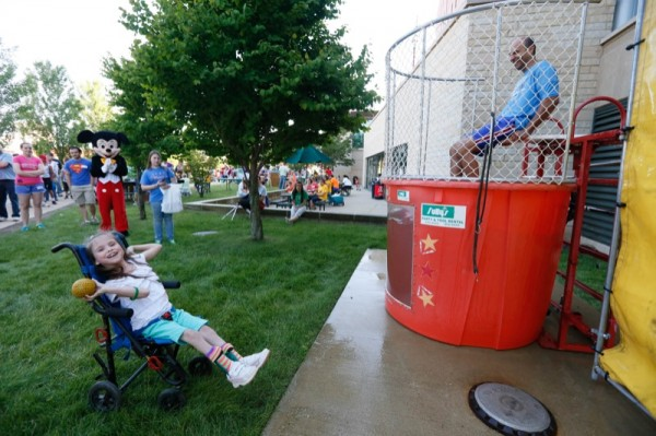 Dr. Sahgal takes his turn in the dunk tank