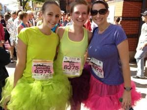 Haslinger Center staff members Samantha White, Erin Teague and Nicole Killian at the 2013 Akron Marathon