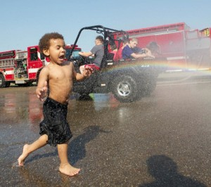 Fire Truck Day makes a splash for childhood burn survivors