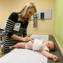 Harper visits with Dr. Snyder at her well visit.