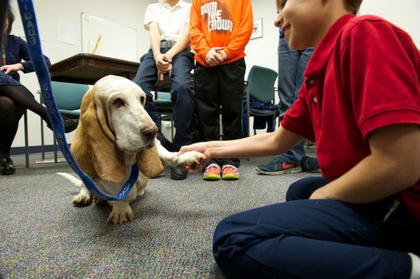 Roxie with kids at speech therapy