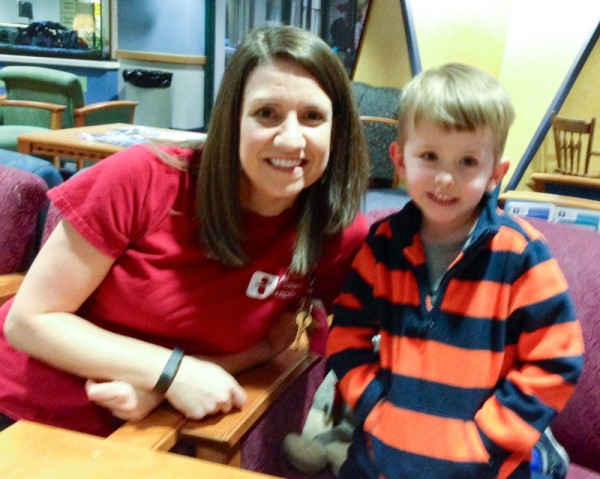 Jordan with a Child Life specialist.