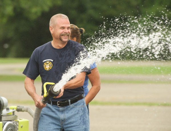 Paul Bevere gets into the fun at Burn Camp.