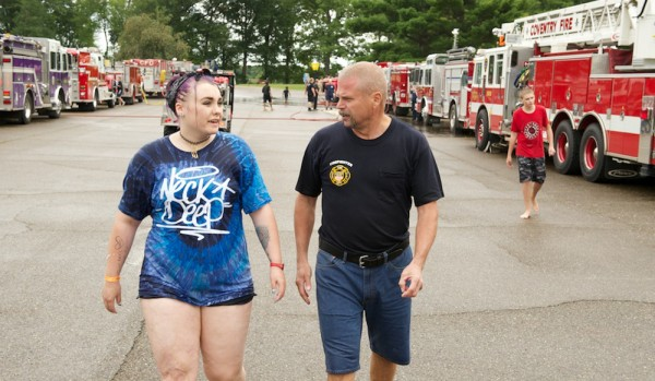 Paul Bevere  with long-time camper Madelyne Rippin, who was attending her last Burn Camp.
