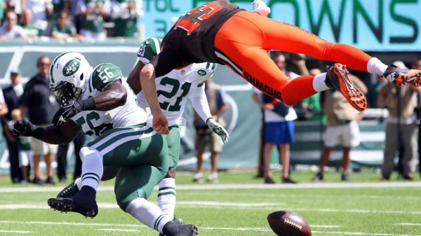 Browns' quarterback Josh McCown suffered a concussion on this play.