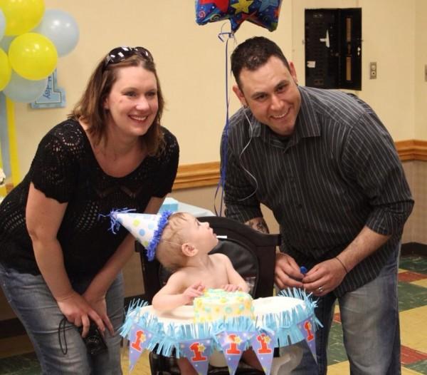 Simon celebrating his 1st birthday.