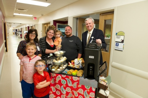 Families are grateful for Judy's coffee cart because it provides them with sweet snacks, free of charge.