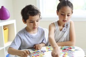 Boy girl bingo game play