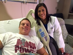 High school football player recovering from stroke