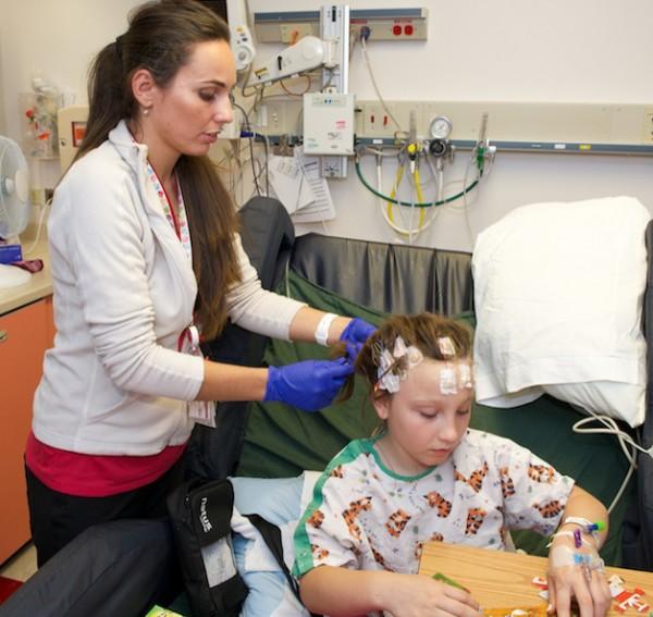 Olga Lytvynova prepares Makaila for her EEG.