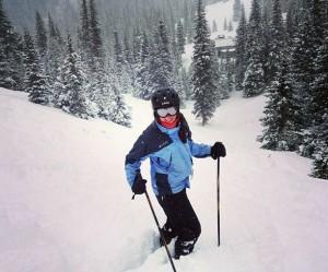 Dr. Lauren Bouton skiing