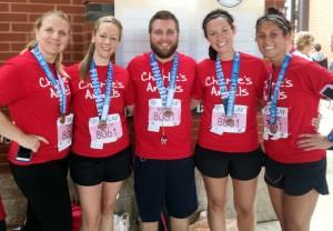 """Charlie's Angels"" marathon relay team honors Dr. Charles Newton"