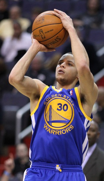 Curry takes a jump shot in March 2011. Holding numerous three-point shooting records and having one of the quickest releases in the NBA, Curry is often considered one of the greatest shooters of all time.