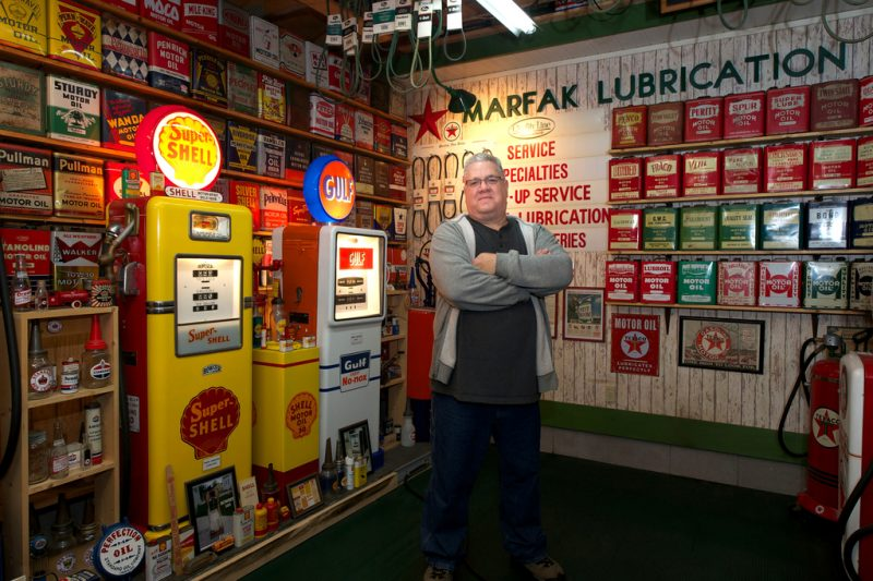 Rick Trego in his decked-out garage