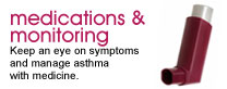 Medications and monitoring: Keep an eye on symptoms and manage asthma with medicine.