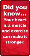 Did you know...Your heart is a muscle and exercise can make it stronger.